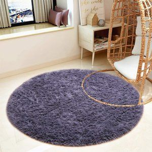 Round Fluffy Soft Area Rugs 4ft B